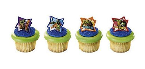 New 24 TEENAGE Mutant NINJA TURTLES Cupcake Topper Pop Rings Party Favor ()
