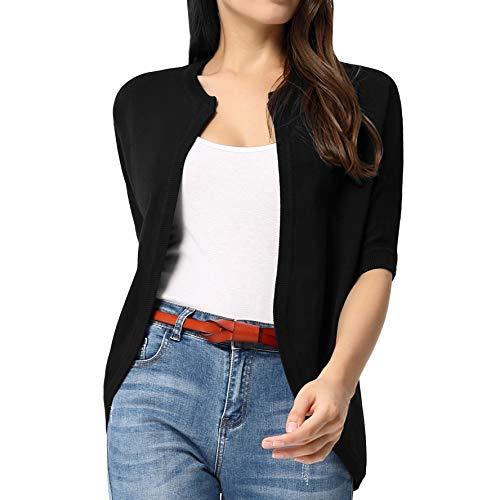 (Women's Cropped Bolero Cardigan Short Sleeve Open Front Knit Sweater Black XL)