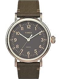 Men's Standard 40mm Analog Quartz Leather Strap, Green, 20 Casual Watch (Model: TW2U03900)