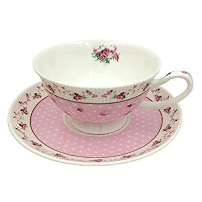 Jsaron Porcelain Pink Rose Tea Coffee Cup with Spoon and Saucer Set Coffee Mug