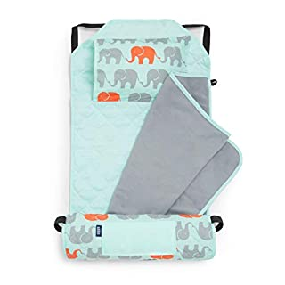 Wildkin All-In-One Modern Nap Mat with Pillow for Toddler Boys and Girls, Ideal for Daycare and Preschool, Features Elastic Corner Straps Cotton Blend Materials, Olive Kids (Elephants)