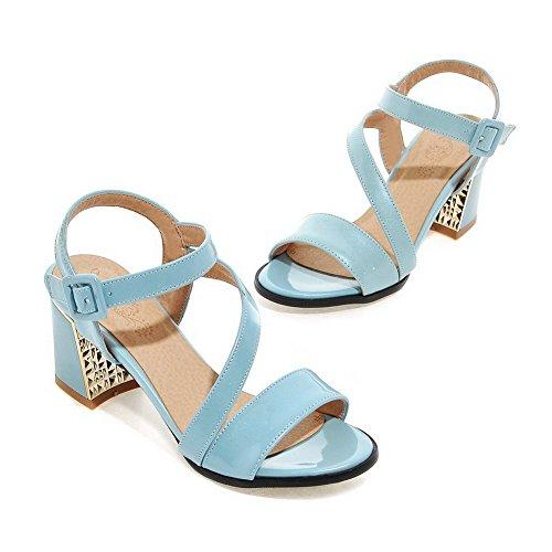 AllhqFashion Mujeres Puntera Abierta Tacón ancho Hebilla Sólido Sandalias de vestir Azul
