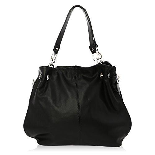 Bolso de Hombro para Mujer Made in Florence Piel Genuina 38*30*12 cm Negro