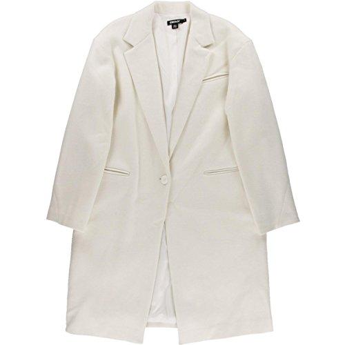 Wool Blend Ivory Jacket (DKNY Womens Wool Blend Single Vent Pea Coat Ivory L)