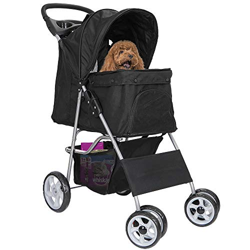 Nova Microdermabrasion Foldable Pet Stroller Four Wheels Carrier Strolling Cart for Cats and Dog with Weather Cover, Storage Basket + Cup Holder