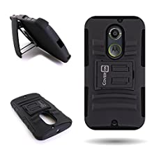 CoverON® for Motorola Moto X (2nd Gen, 2014) Belt Clip Holster Case [Explorer Series] Hybrid Heavy Duty Protective Phone Cover with Kickstand - ( Black / Black )