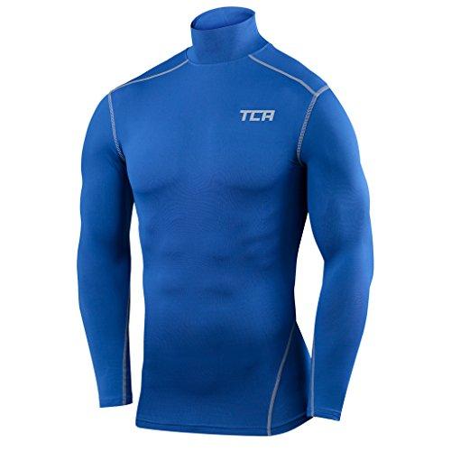 Men's Boys TCA Pro Performance Compression Base Layer Long Sleeve Thermal Top - Mock Neck - Varsity Royal L Boy (10-12 Years) (Pro Neck)