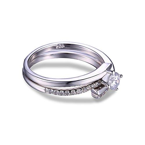 JewelryPalace 0.43ct Magnifique Bague de Fiançailles Femme Mariage Alliance Anniversaire Deux Anneaux Ensemble en Argent Sterling 925 en Zircone Cubique de Synthèse CZ