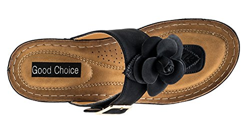 Fl Black Women's Sandals Slide Sydney Gc Shoes Rosette Wedge Sxwqq8T6