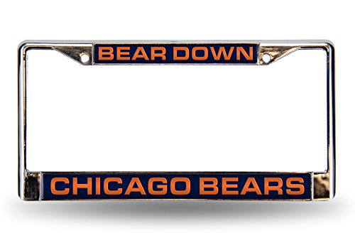 (Rico Industries NFL Chicago Bears Bear Down Laser Cut Inlaid Standard License Plate Frame, 6