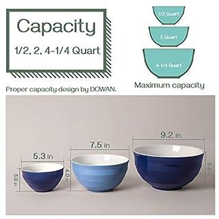 DOWAN Ceramic Mixing Bowls, Large Serving Bowls, Salad Bowls Salad Mixing Bowls Set, Porcelain Serving Bowls, Microwave/Dishwasher/Oven Safe, 0.5/2/4.25 Qt, Blue