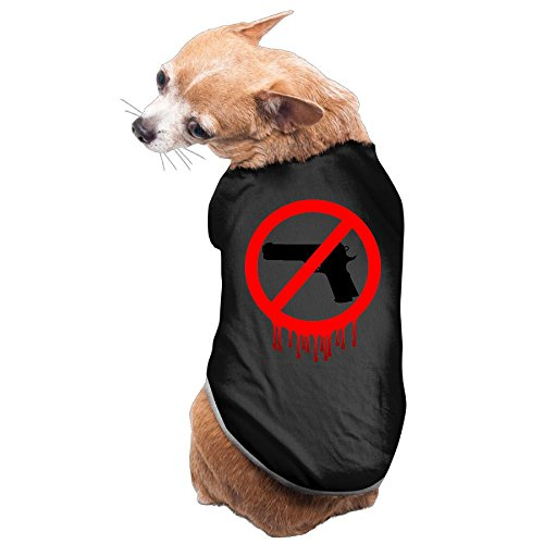 WUGOU Dog Cat Pet Shirt Clothes Puppy Vest Soft Thin No Guns Allowed Bloody 3 Sizes 4 Colors -