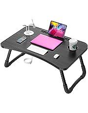 مكتب كمبيوتر محمول من إليكين للسرير ، طاولة عمل محمولة قابلة للطي وطاولة عمل وسرير وطاولة عمل مع 4 منافذ USB - حامل أكواب لأريكة السرير - أريكة مع هدايا مجانية (مصباح صغير ، مروحة)