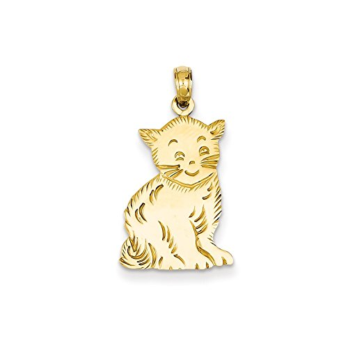 Mireval 14k Yellow Gold Polished Cat Charm (9 x 26 mm) (Cat Charm Gold Yellow)