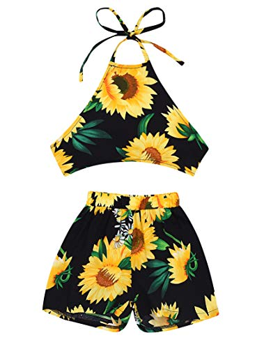 (2Pcs/Set Fashion Toddler Kids Baby Girl Backless Embroidery Floral Halter Tank top+Shorts Summer Outfits (Yellow, 80(6-12M))