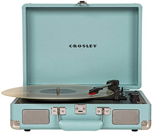 Crosley CR8005D-TQ Cruiser Deluxe Vintage 3-Speed Bluetooth Suitcase Turntable, Turquoise
