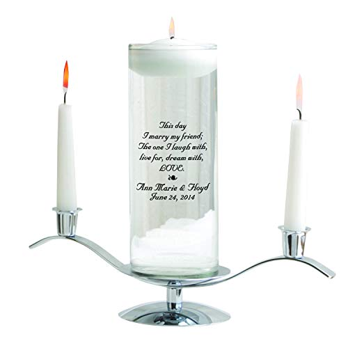 Personalized Floating Wedding Unity Candle Set - Personalized Wedding Candle Set - Includes Stand - This ()