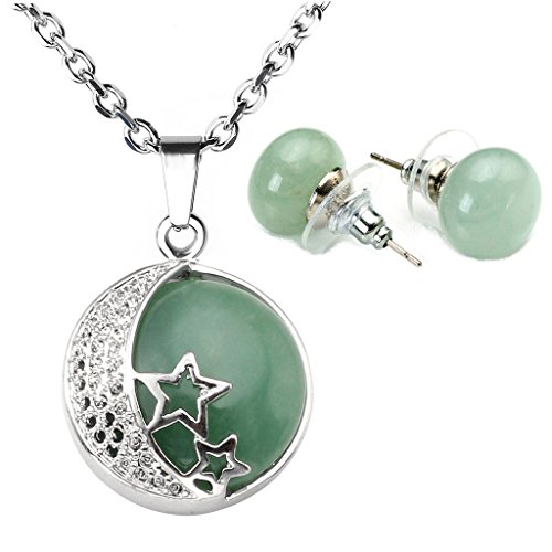 Top Plaza Birthstone Semi-Precious Gemstone Abacus Beaded Studs Earrings Silvery Case Hollow Star&Moon Pendant Necklace Jewelry Sets(Green Aventurine)