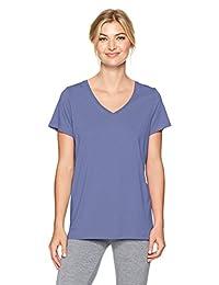 Hue womens Solid Short Sleeve V-neck Sleep Tee