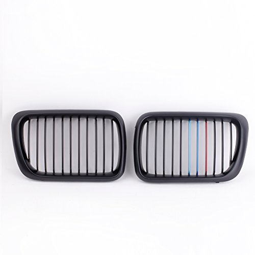(KKmoon 2Pcs Matte Black M-color Painted Front Upper Kidney Grille Insert Trims Front Center Kidney Grille Grilles Grill for BMW E36 3 Series 1997-1999 M-Performance Black Kidney Grilles )