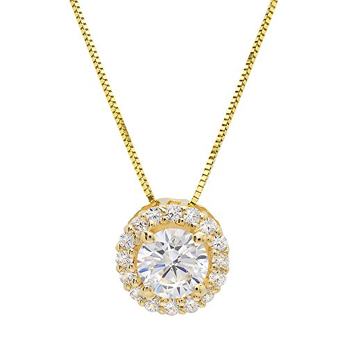 Clara Pucci's 14k Yellow Gold Round Cut Simulated Diamond CZ Pendant Necklace w/ 16