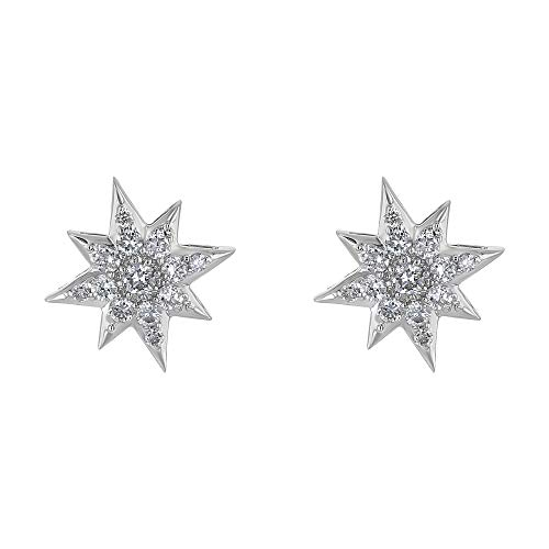 Olivia Paris 14k Gold Star Earrings for Women (3/8 cttw, H-I Color, SI2-I1 Clarity) (white-gold)