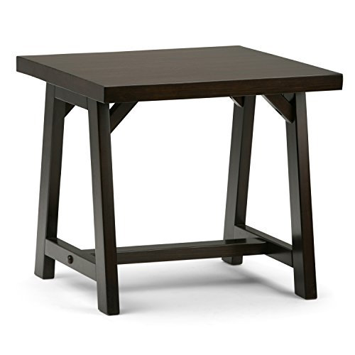 Simpli Home 3AXCSAW-02-BR Sawhorse Solid Wood 22 inch Wide Square Modern Industrial End Side Table in Dark Chestnut Brown ()