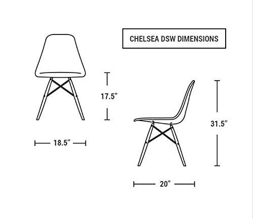 Amazon Com Chelsea Eames Dsw Molded Plastic Dining Side Chairs Black Set Of 2 Patio Lawn Garden