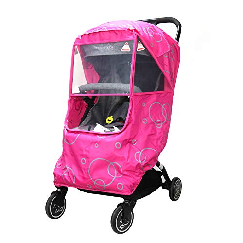 Wonder buggy Universal Stroller Weather Shield Rain Cover with Bubble,Waterproof, Windproof Protection, Travel-Friendly, Outdoor Use, Easy to Install and Remove (Pink) (Stroller Buggy)