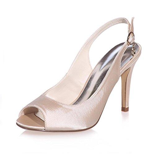 5623 Zapatos Boda Peep Fiesta Y Para De Noche Toe Champagne Más yc Mujer Seda L Colores 18 qSw4xF4