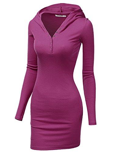 Vintage 70s Plaid (Doublju Womens Casual Cotton Henley Neck Mini Dress Violet,L)