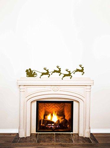 Santa & Reindeer Vinyl Decal - Silhouette Santa Sleigh & Reindeer, Vinyl Sticker, Home Vinyl Decor, 36
