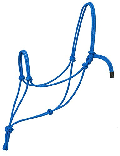 Horse Rope Halters - 11 Sizes - Miniature, Foal, Weanling, Pony, Cob/Arab, Horse, Warmblood, Draft & Custom (Horse, Blue)