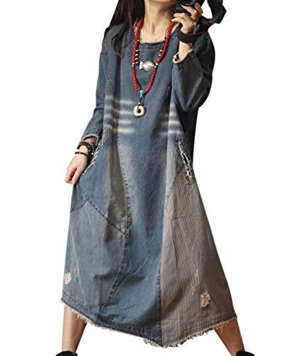 YESNO YM5 Women Casual Long Maxi Denim Dress Plus Size Scratch Distressed Striped Stitched Irregular Tassel Hemline Long Sleeve/Pockets