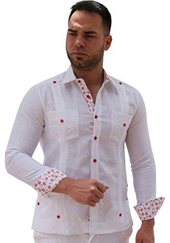 GUAYABERASCUBANAS Fashion Guayabera Party. Linen 100%. Design Shirt. - French Linen Cuff