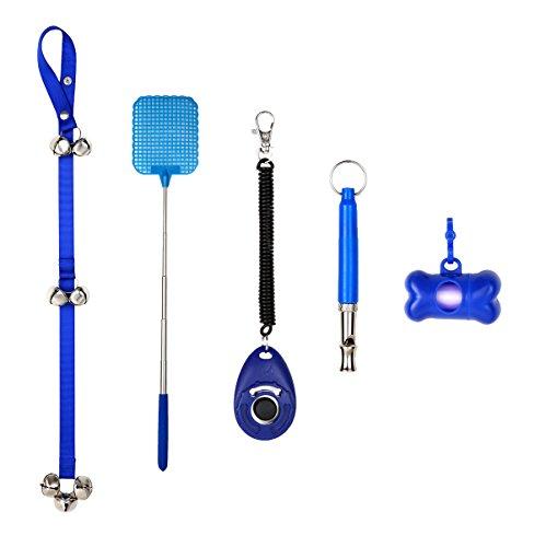 Doorbells for Dog Training and Potty, Adjustable Dog Housebreaking Door Bell, Dog training Clicker, Dog Waste Bag Dispenser, Dog Whistle (5PCS-Blue) (Standard Puppy Kit)