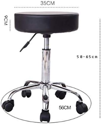 JJLL Tabouret de Bar pivotant Chaise Ronde en Cuir PU Chaise réglable en Hauteur Tabouret de Bar avec Repose-Pieds en Chrome
