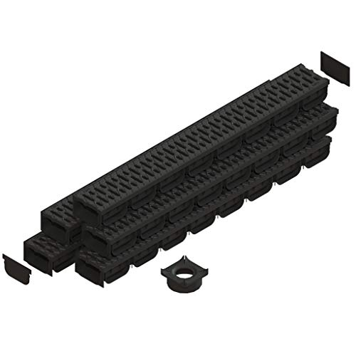 Standartpark - 4 Inch Trench Drain System with Grate - Black - Spark 2 (5 Pack)