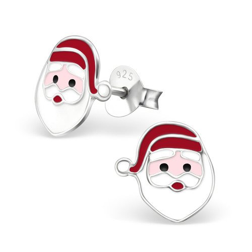 Colour 925 Sterling Silver Santa Claus Colorful Ear Studs Girls