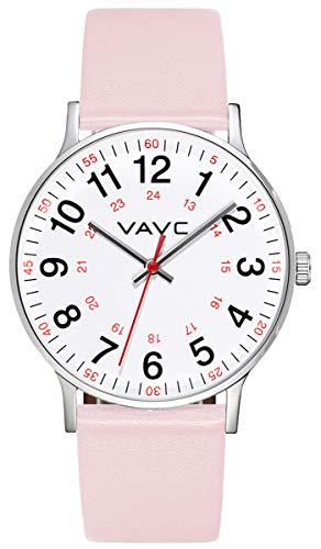 VAVC Scrub Medical Watch for Nurses, Doctors, Students with Second Hand 24 Hour. Pink Leather Watch