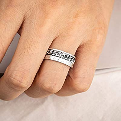 Valily Personalized Norse Viking Symbol Ring Stainless Steel//18K Gold//Black Cuban Link Rotating Ring for Men Size 7-13