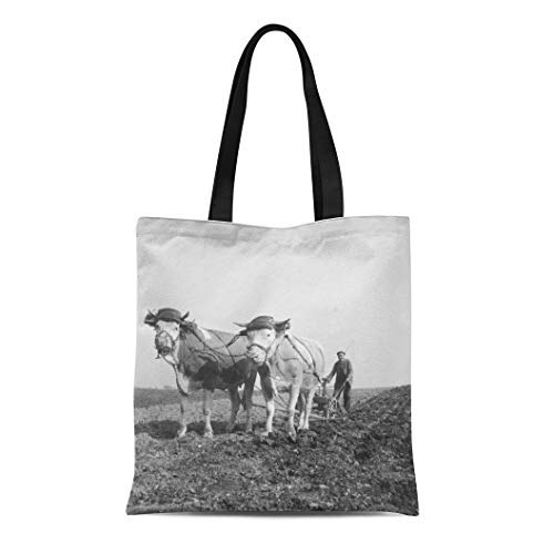 (Semtomn Cotton Canvas Tote Bag Plow Man Plowing Field Ox Drawn Plough 1930S Agriculture Reusable Shoulder Grocery Shopping Bags Handbag Printed)