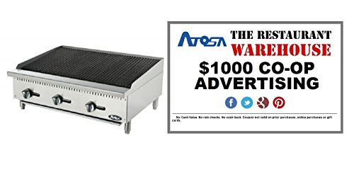 Atosa 36-Inch Char-Rock Broiler - Propane and $1000 Restaurant Advertising Credit by Atosa