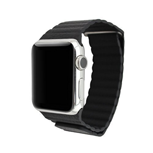 Tailcas® Fashion Durable 42mm Leder Apple Smart Watch Strap Uhrband Uhrenarmband Armband Watchband Strap mit Magnetisch Schliesse für Apple iWatch mit Adapter -Schwarz(Nicht enthalten Uhr)