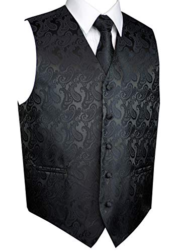 Italian Design, Men's Tuxedo Vest, Tie & Hankie Set in Charcoal Paisley