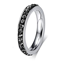 Women Girls Stainless Steel CZ Cubic Zirconia Eternity Ring Birthstone Crystal Circle Round,3mm