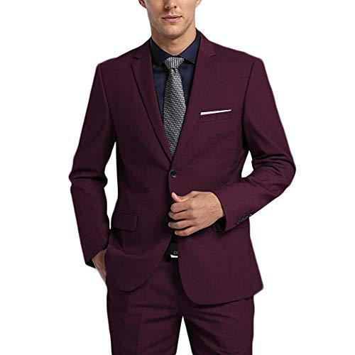 WEEN CHARM Men's Suits One Button Slim Fit 2-Piece Suit Blazer Jacket Pants Set Fuchsia