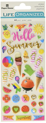 Paper House Productions Summer Fun Stickers 3, 3-Pack, Puffy