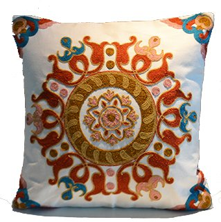 "SERENA & DOROTHY 18"" x 18"" Oriental Decorative one-side Embroidered RING Cotton Linen Throw Pillow Accent Pillow Cushion(Insert included)for Couch Bed Sofa Patio or Car"
