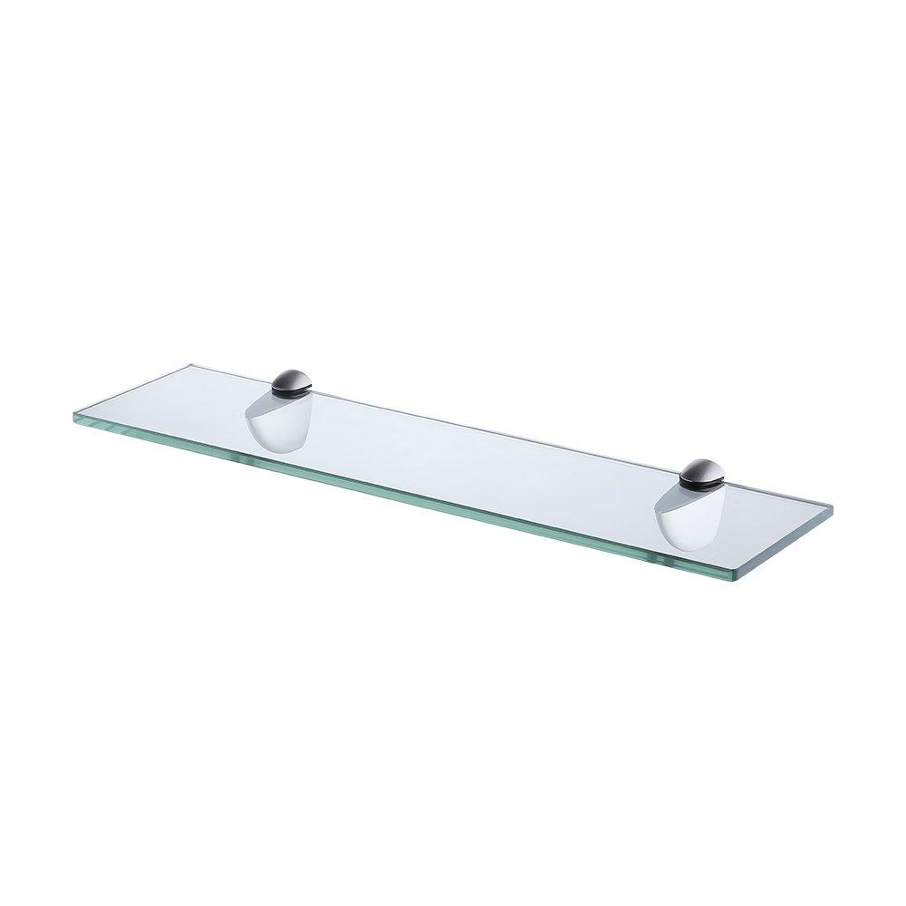 KES Tempered Glass Shelf Bathroom Shelf (19.6'' Rectangular 8MM-Thick) Shower Organizer Wall Mounted, Brushed Bracket, BGS3200-2